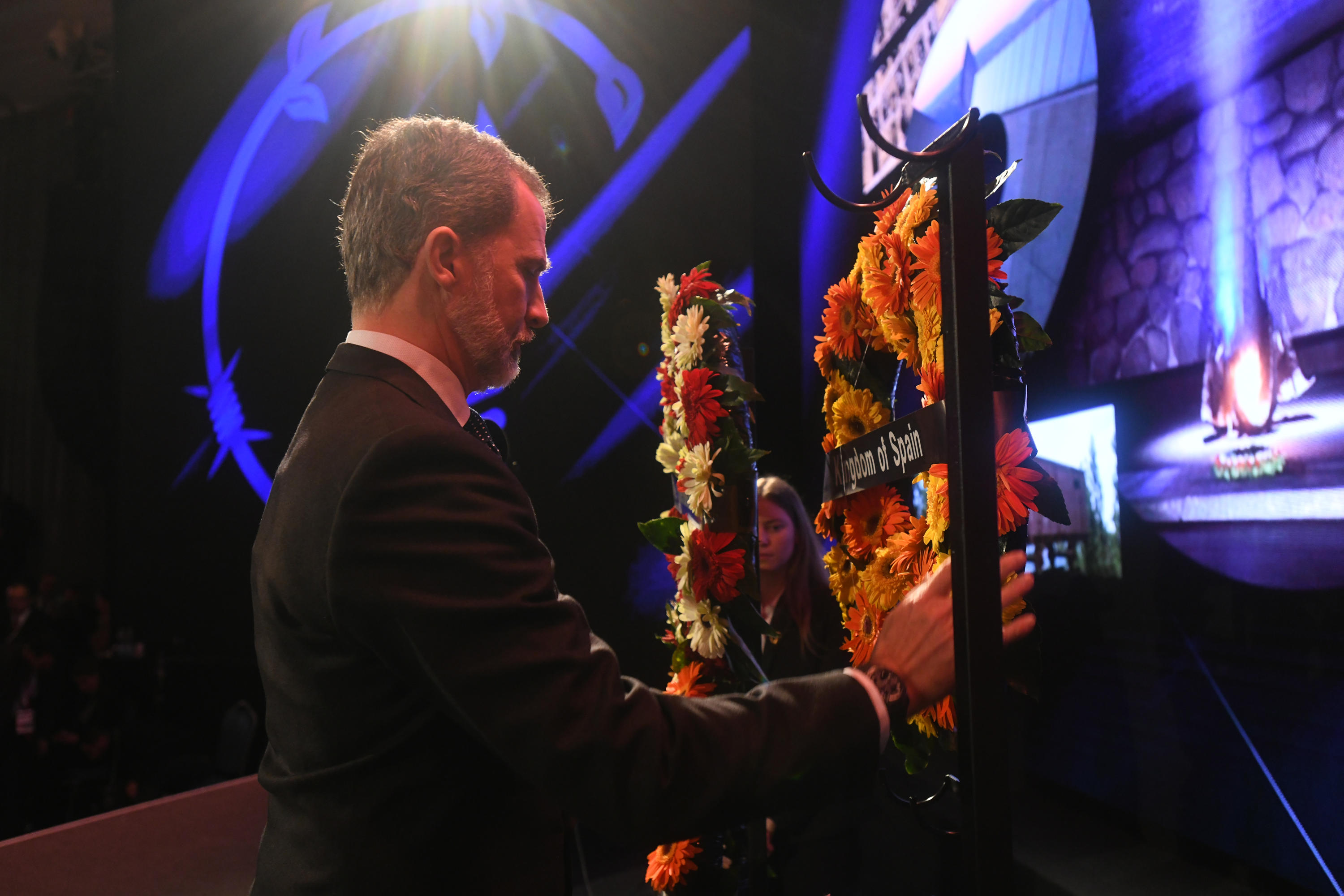 King Felipe VI of Spain lays a wreath in memory of the six million Holocaust victims