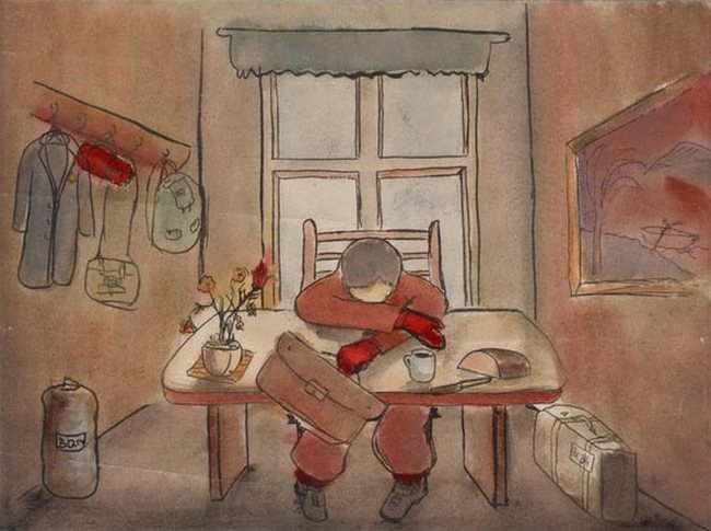 Yehuda Bacon (b.1929) before the transport to Terezin, 1945, water color and ink on paper, Yad Vashem collection, Jerusalem.