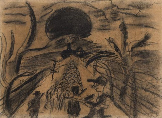 Yehuda Bacon (b.1929), Memories From Auschwitz. 1945. Charcoal on paper. Yad Vashem Art Museum Collection, Jerusalem.
