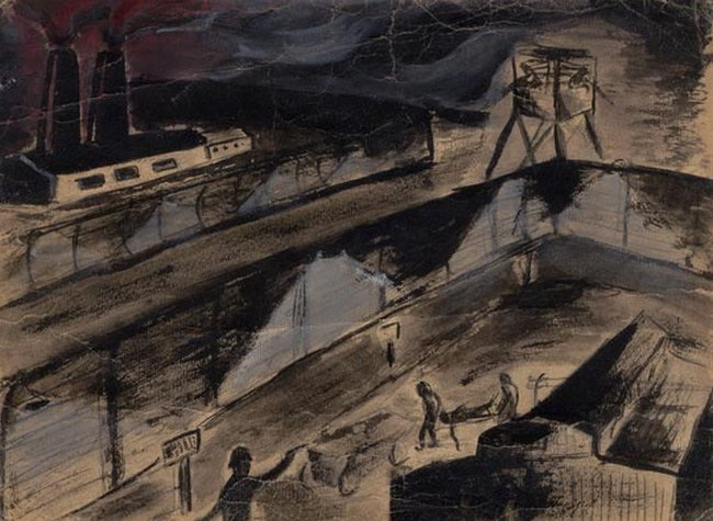 Yehuda Bacon (b.1929), Memories From Auschwitz – Crematorium Number Three. 1945. Ink and gouache on paper. Yad Vashem Art Museum Collection, Jerusalem.
