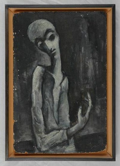 Yehuda Bacon (b.1929), Muselman. c. 1947. Oil on cardboard. Yad Vashem Art Museum Collection, Jerusalem.