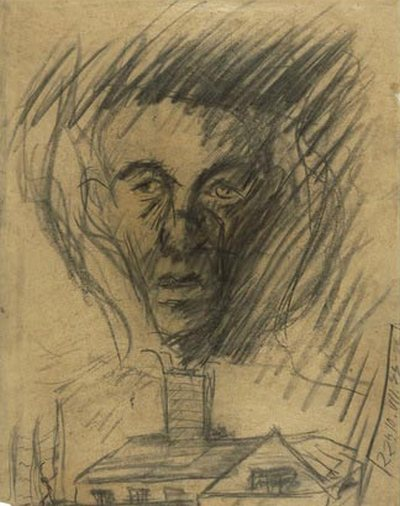 Yehuda Bacon (b.1929), In Memory of the Czech Transport to the Gas Chambers. 1946. Charcoal on paper. Yad Vashem Art Museum Collection, Jerusalem.