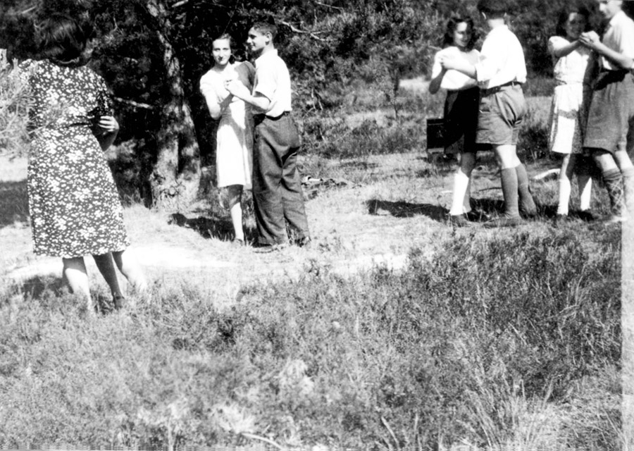 The older group in the home learning to dance in the forest, September 1945