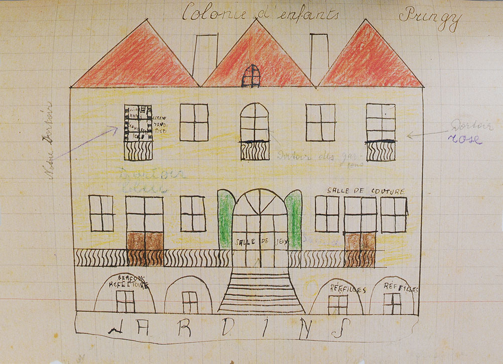 Drawing of the children's home that Hannah Krieser sent to her mother in Riversaltes
