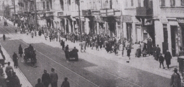 A street in Piotrków Trybunalski before the Holocaust
