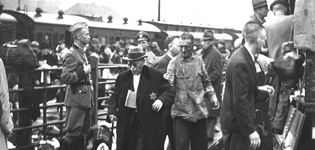 29 August 1942. Jews arriving at the Wiesbaden train station, about to be deported