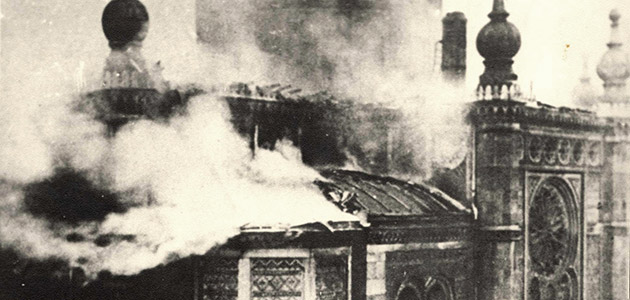 The synagogue on Michelsberg Street in flames during Kristallnacht, 9-10 November 1938, Wiesbaden