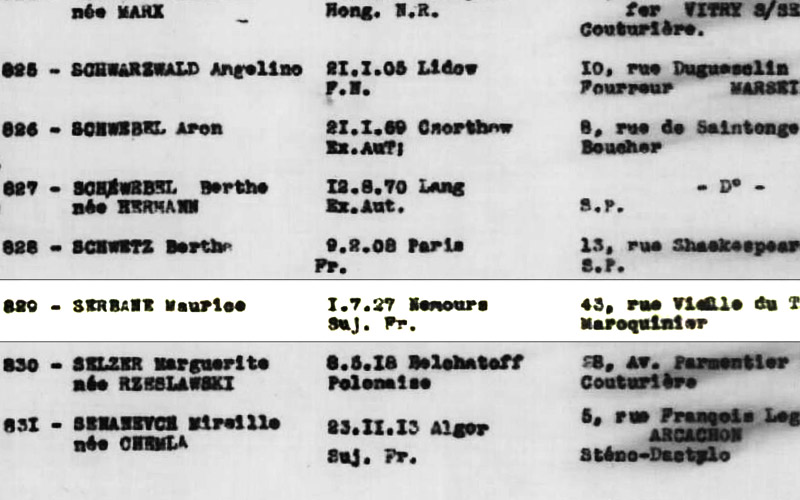 List of deportees on the convoy of 25 March 1943 from Drancy to Sobibor